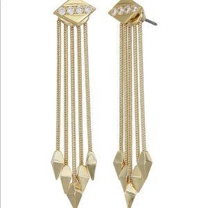Noir Jewelry Assassin Gold Drop Earrings NWT